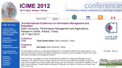 3rd International Conference on Information Management and Evaluation  (ICIME 2012)