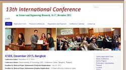 13th International Conference on Science and Engineering Research (ICSER 2015)